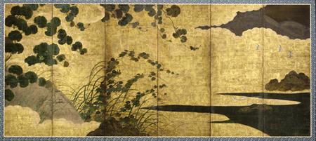 huge japanese gold leaf screen